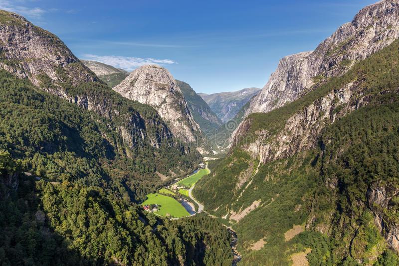 Naeroydalen valley view from Staleheim, Norway royalty free stock images