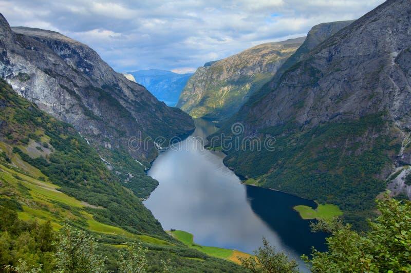 Naeroyfjord, Норвегия стоковое изображение rf
