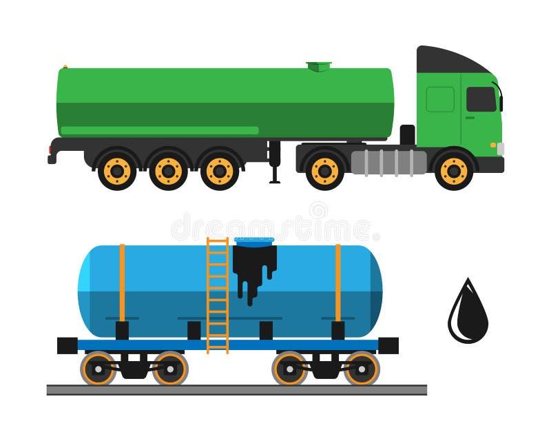 Nafciana ekstrakci ciężarówki transportu i wysyłki wektoru ilustracja ilustracja wektor