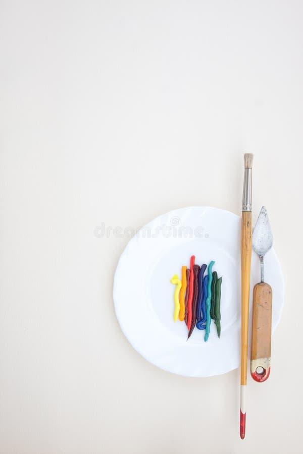 Nafciana farba z obrazów instrumentami zdjęcia royalty free