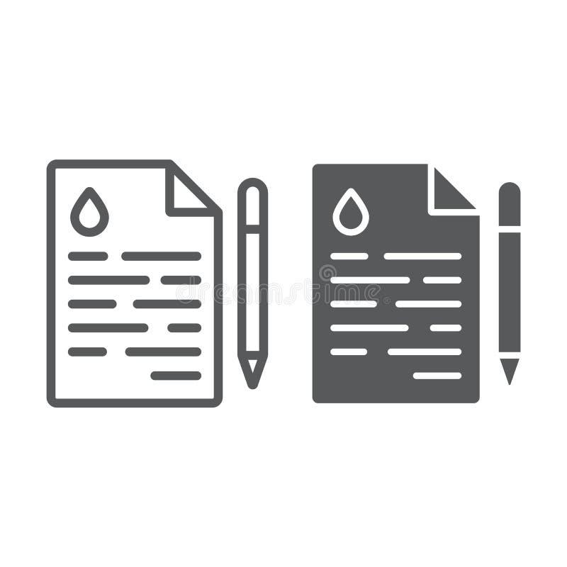 Nafciana kontrakt linia, glif ikona, transakcja i paliwo, zgoda znak, wektorowe grafika, liniowy wzór na białym tle ilustracja wektor