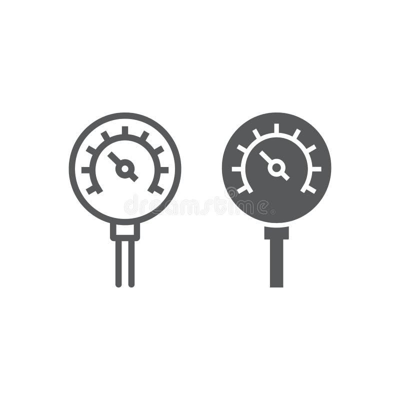Nafciana manometr linia, glif ikona, kontrola i metr, ciśnieniowego gage znak, wektorowe grafika, liniowy wzór na bielu ilustracji