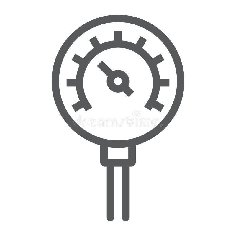 Nafciana manometr linii ikona, kontrola i metr, ciśnieniowego gage znak, wektorowe grafika, liniowy wzór na białym tle royalty ilustracja