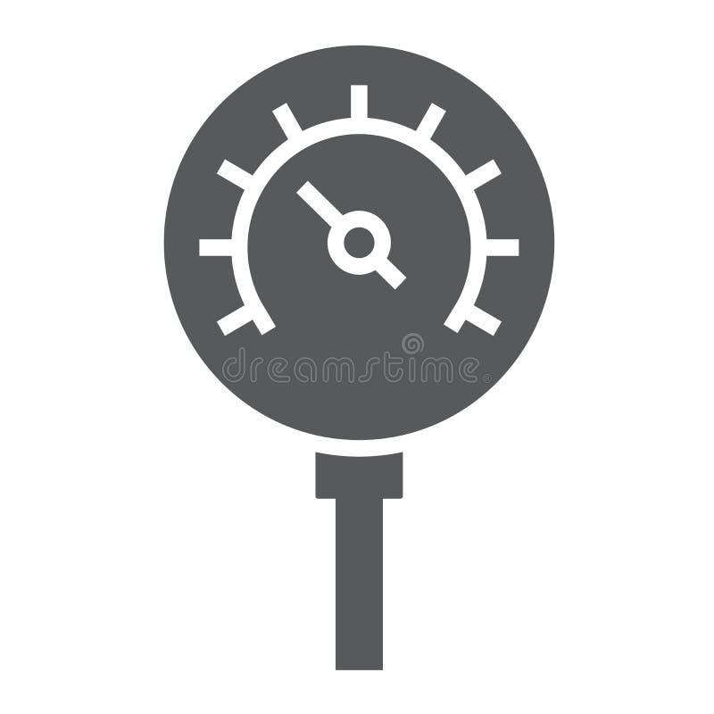 Nafciana manometru glifu ikona, kontrola i metr, ciśnieniowego gage znak, wektorowe grafika, bryła wzór na białym tle royalty ilustracja