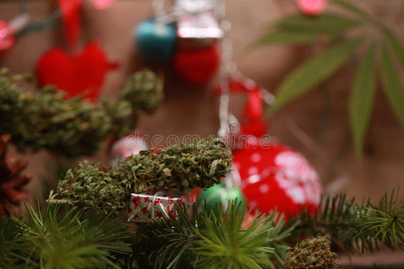 Nafciana marihuana w butelce i konopie na bożego narodzenia tle zdjęcie stock