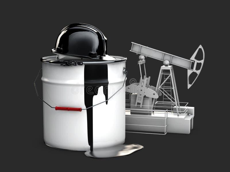 Nafciana pompa z baryłka olejem i przysiółkiem, 3d ilustracja odizolowywał czerń ilustracja wektor