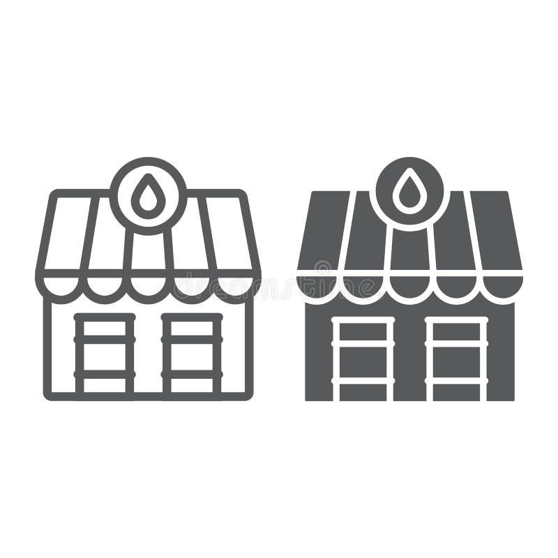 Nafciana stacja rynku linia, glif ikona, paliwo i architektura, rynku ropego budynku znak, wektorowe grafika, liniowy royalty ilustracja