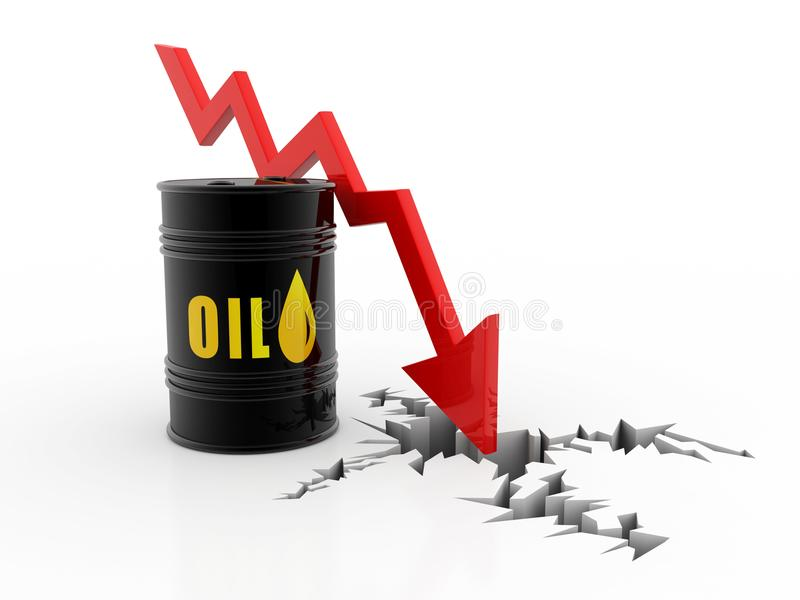 Nafciane baryłki z spada cena ropy wykresem 3 d czynią royalty ilustracja