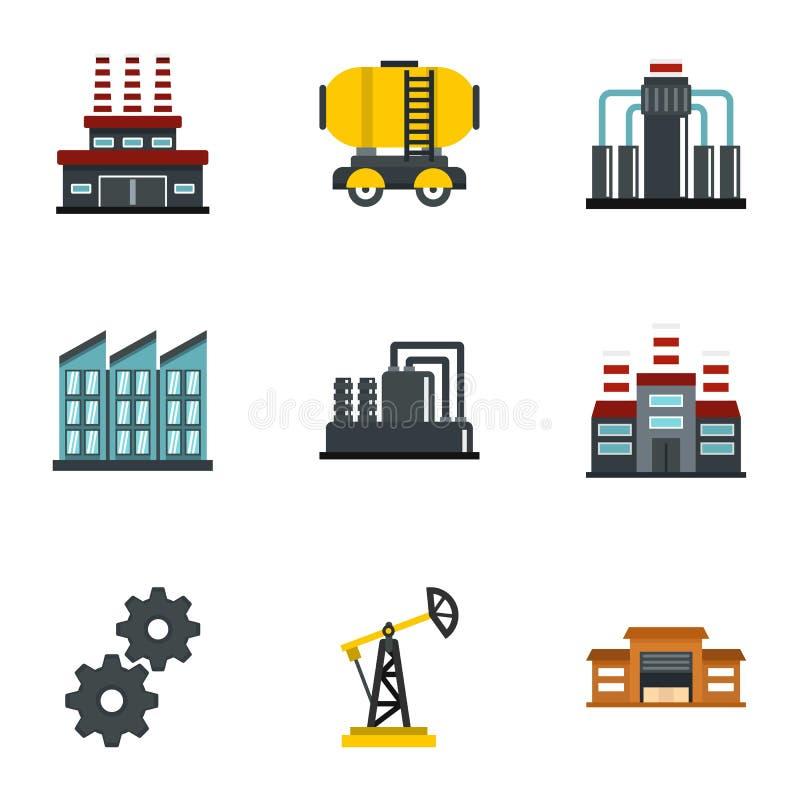 Nafciane ekstrakcyjne ikony ustawiający transportu mieszkania styl ilustracji