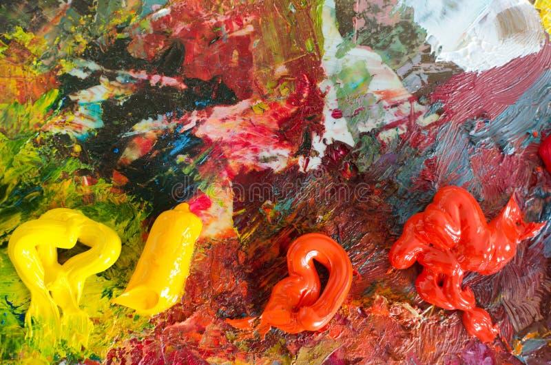 Nafciane farby na palecie abstrakcyjny tło struktura kolorowa obrazy royalty free