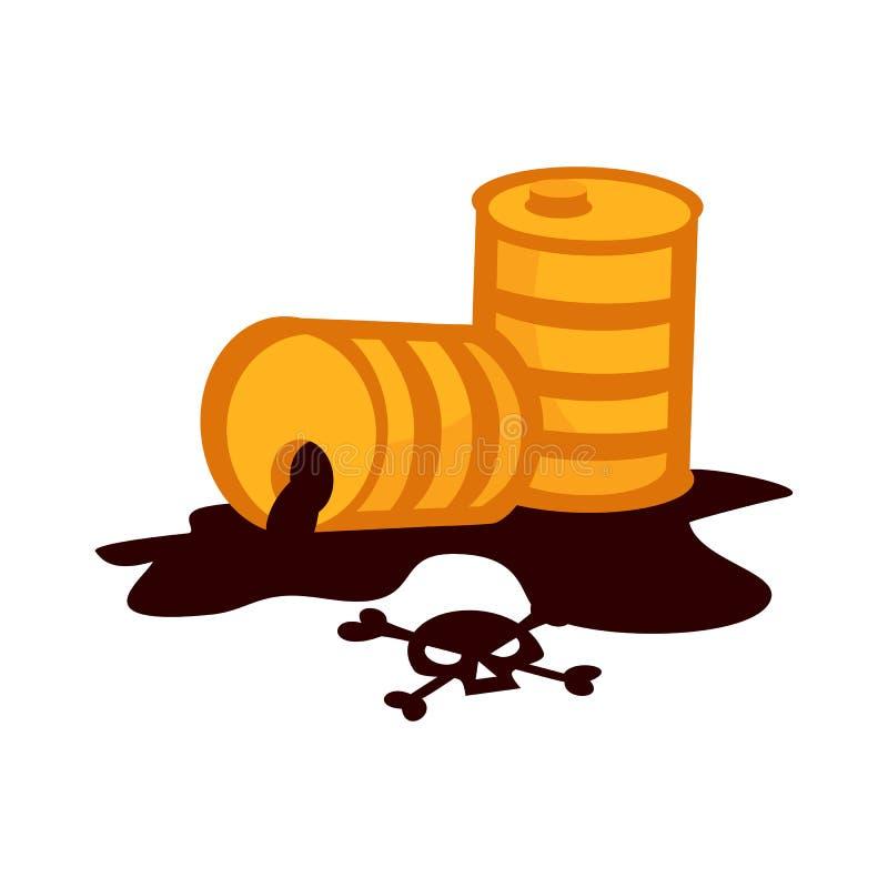 Nafcianego bębenu zbiornika ciekłej beczki składowi rzędy stal beczkują kubaturowego zbiornika i naturalnego produkci staci dobyc royalty ilustracja
