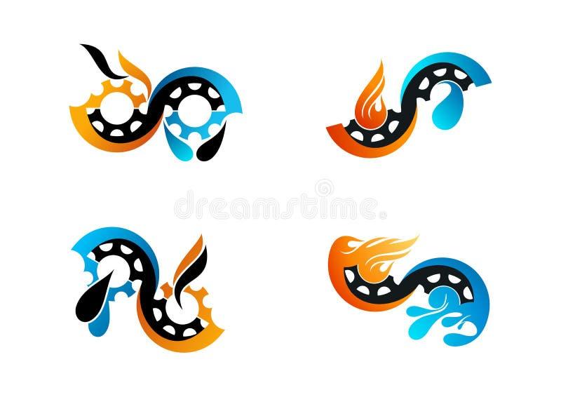Nafcianego gazu logo, przekładnia płomienia wody symbol i paliwa pojęcia wektorowy projekt, royalty ilustracja