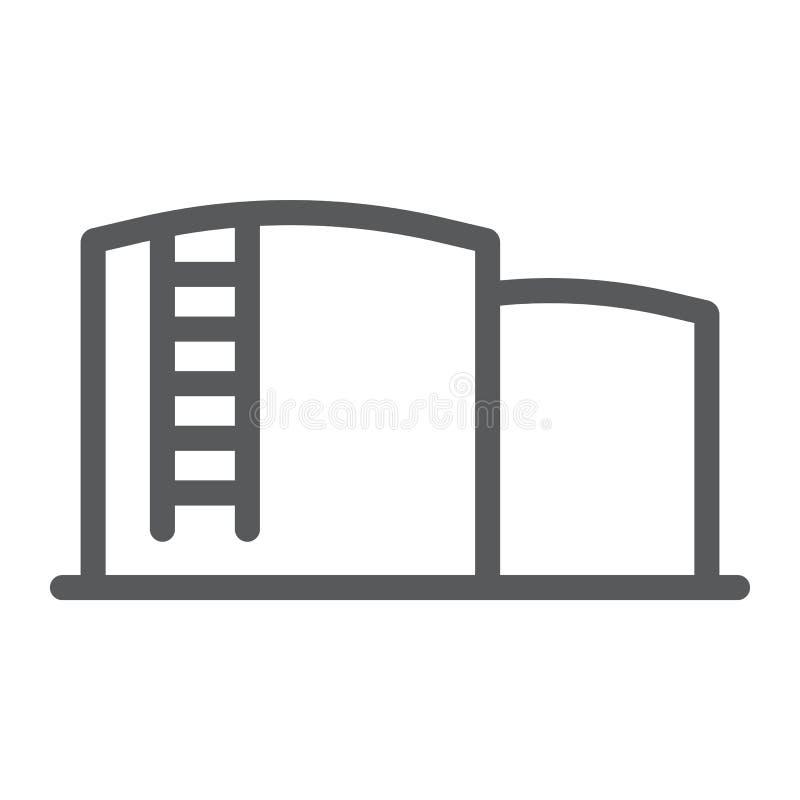 Nafcianego magazynu linii ikona, paliwo i przemysł, nafcianego zbiornika znak, wektorowe grafika, liniowy wzór na białym tle ilustracja wektor