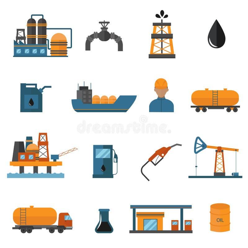 Nafcianego przemysłu gazowego rękodzielnicze ikony dla infographic ilustracja wektor