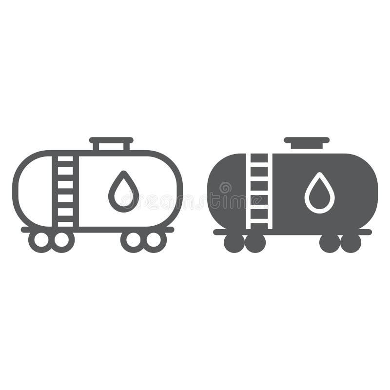 Nafcianego zbiornika linia, glif ikona i industy, i zbiornik, paliwo pociągu znak, wektorowe grafika, liniowy wzór na bielu royalty ilustracja