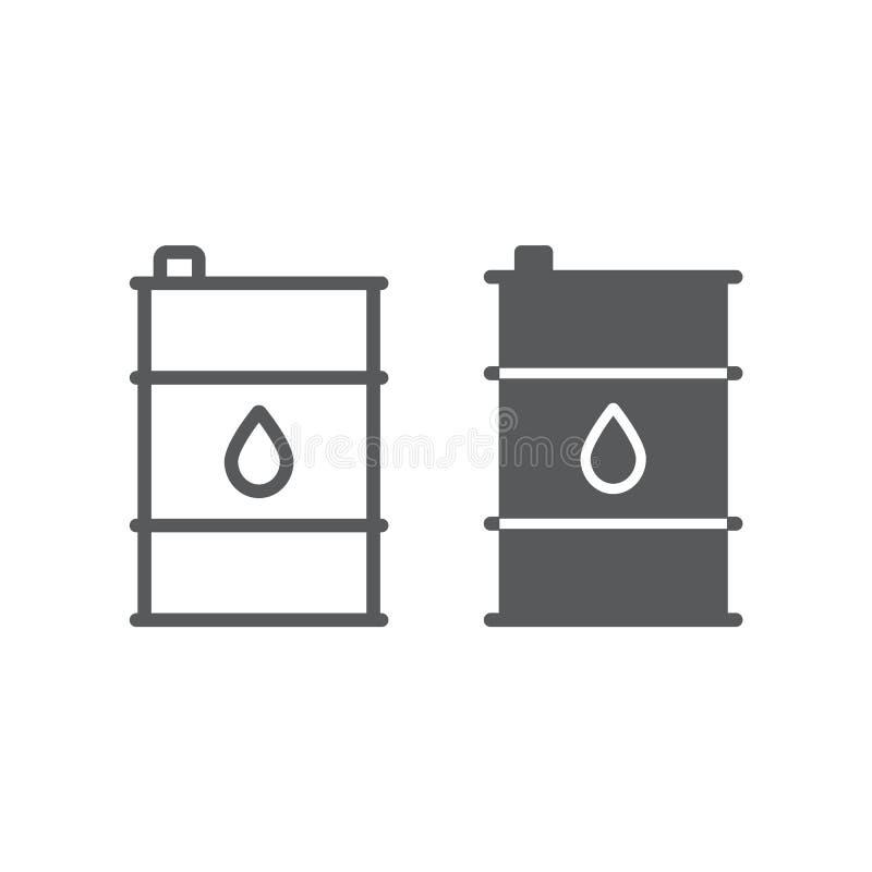 Nafcianej baryłki linia, glif ikona, zbiornik i przemysł, nafcianego zbiornika znak, wektorowe grafika, liniowy wzór na bielu ilustracji