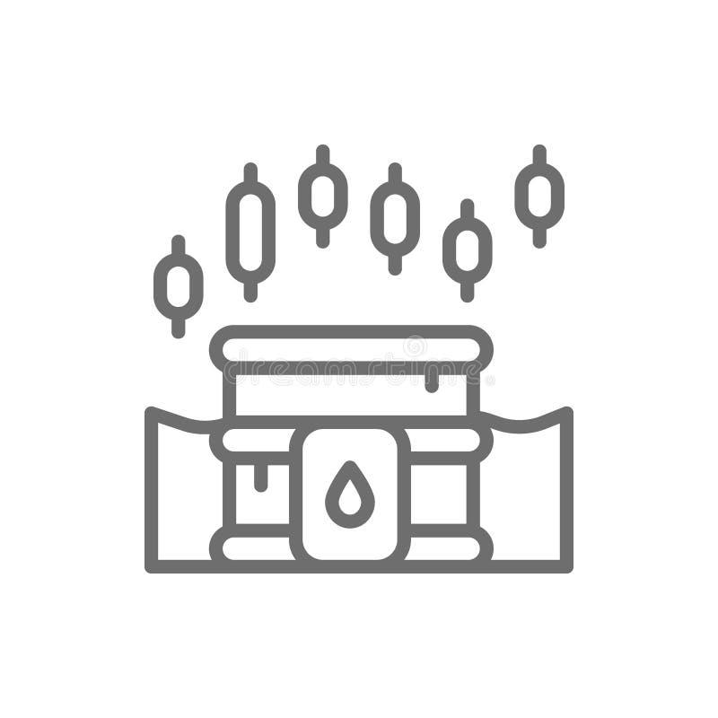 Nafcianej baryłki wskaźnika wzrostowa mapa, wzrastający koszt paliwo, rynek papierów wartościowych kreskowa ikona ilustracji