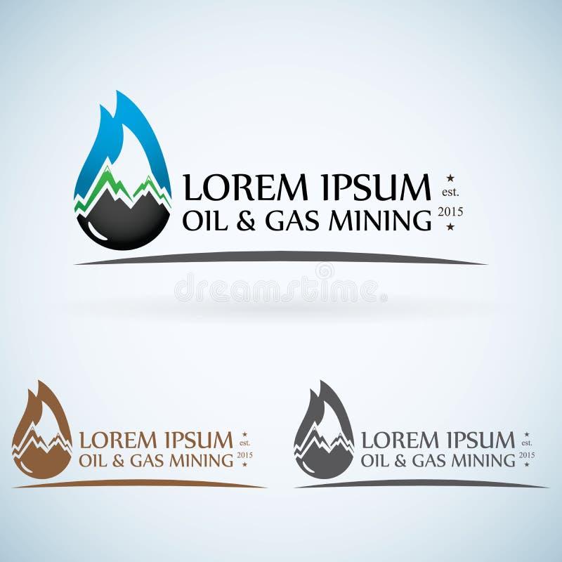 nafcianej firmy gazowej loga projekta szablonu koloru wektorowy set pożarnicza olej kropla z góra abstrakcjonistycznego symbolu p royalty ilustracja