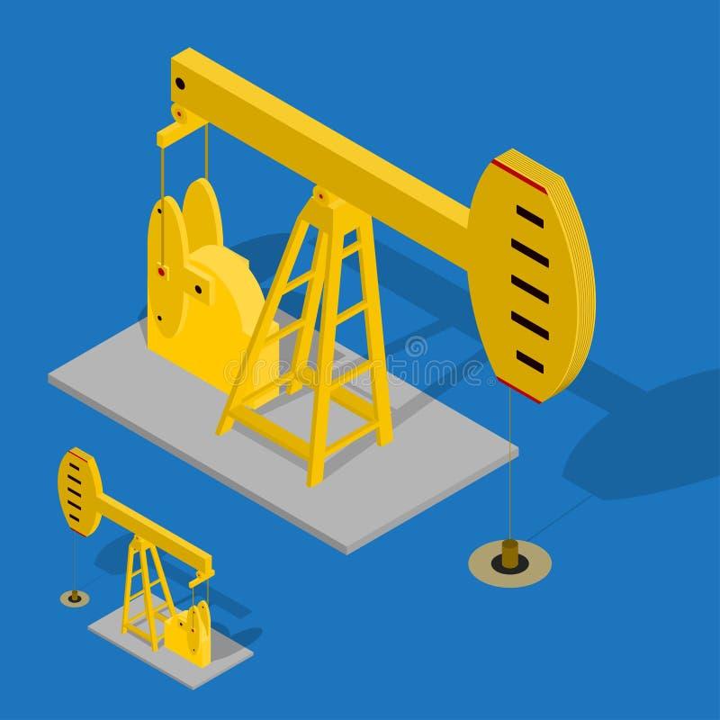 Nafcianej pompy Energetyczny Przemysłowy na Błękitnym tle wektor ilustracja wektor