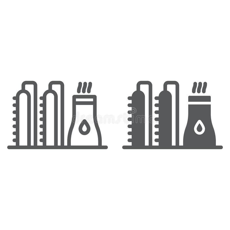 Nafcianej rośliny linia, glif ikona i industy, i rafineria, władzy fabryki znak, wektorowe grafika, liniowy wzór na bielu ilustracja wektor