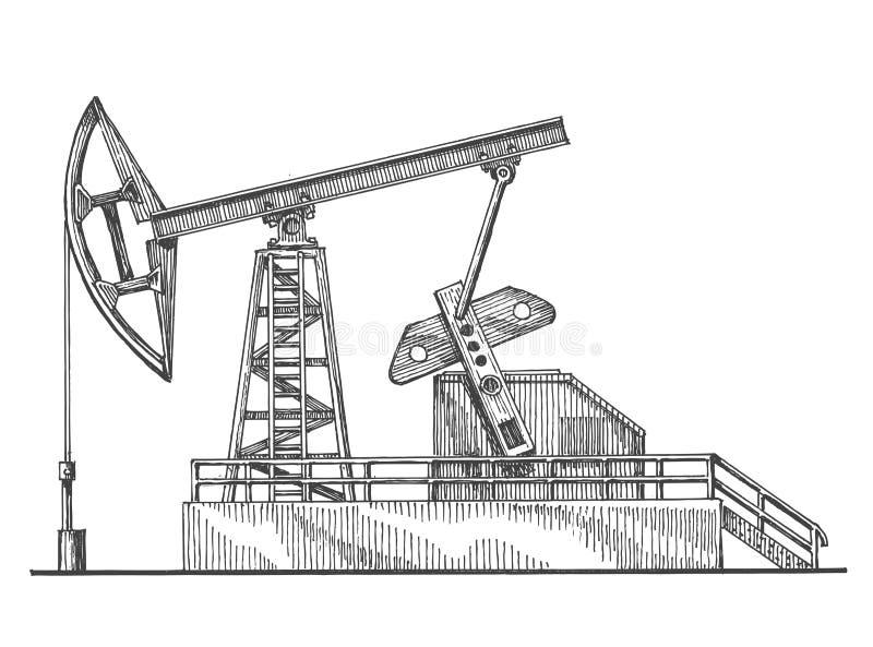 Nafciany kołysa wektorowy loga projekta szablon petroleum ilustracja wektor