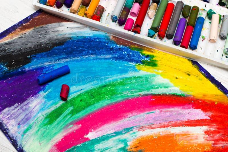 Nafciany pastelu rysunek, kredki i fotografia stock