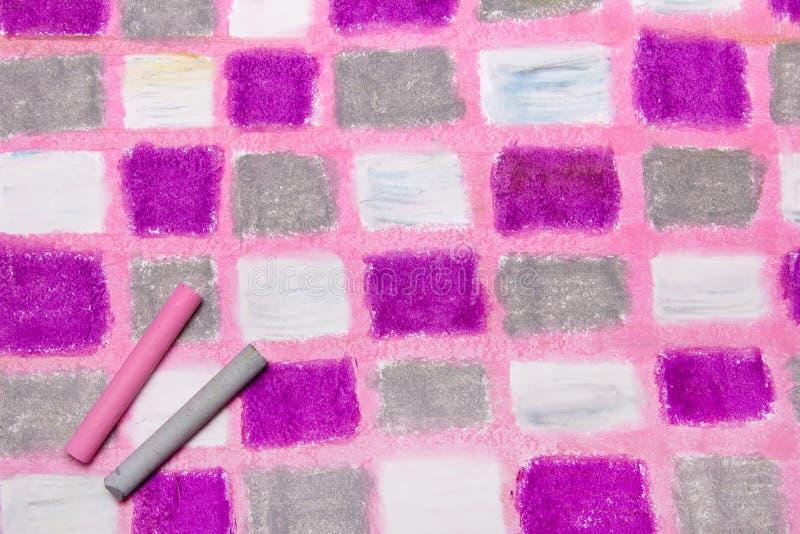 Nafciany pastelu rysunek z kwadratami zdjęcia stock