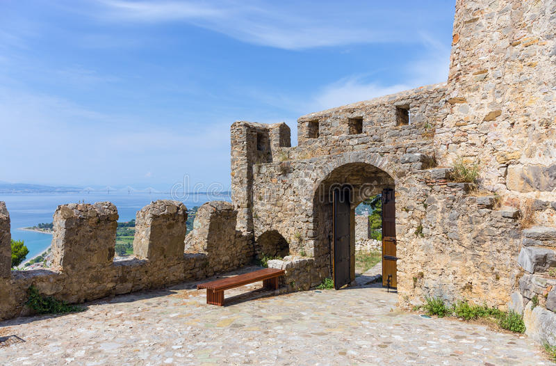 Nafpaktos Castle gate, Greece. The well preserved Castle of Nafpaktos is one of the most beautiful castles in Greece. It proudly keeps watch on the city and the royalty free stock photography