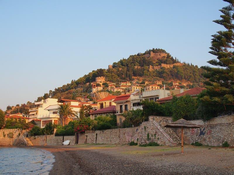 Nafpaktos Castle, Greece. Ancient ruins and fortifications, Nafpaktos Castle, Kastro, and town, Greece stock photos
