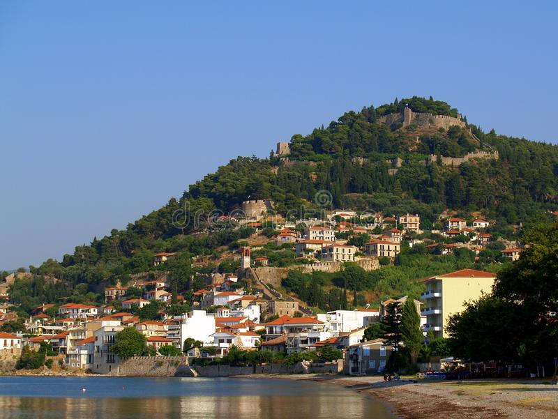 Nafpaktos, Greece. Nafpaktos town and castle, Western Greece, on the Gulf of Corinth stock photography