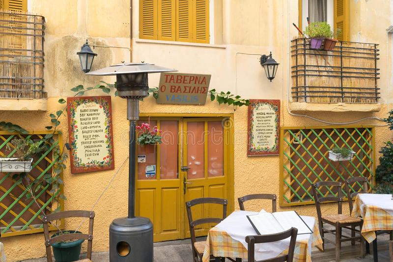 Nafplio, Greece 27 December 2015. Traditional tavern at Nafplio in Greece ready to welcome people for a lunch. stock image
