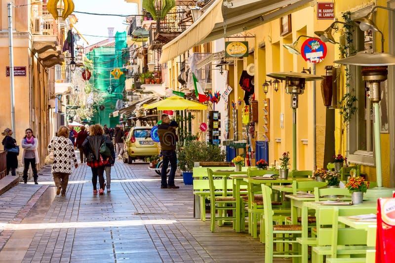 Nafplio Grekland gatasikt fotografering för bildbyråer