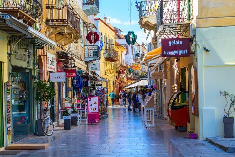 Nafplio Grekland gatasikt royaltyfria foton