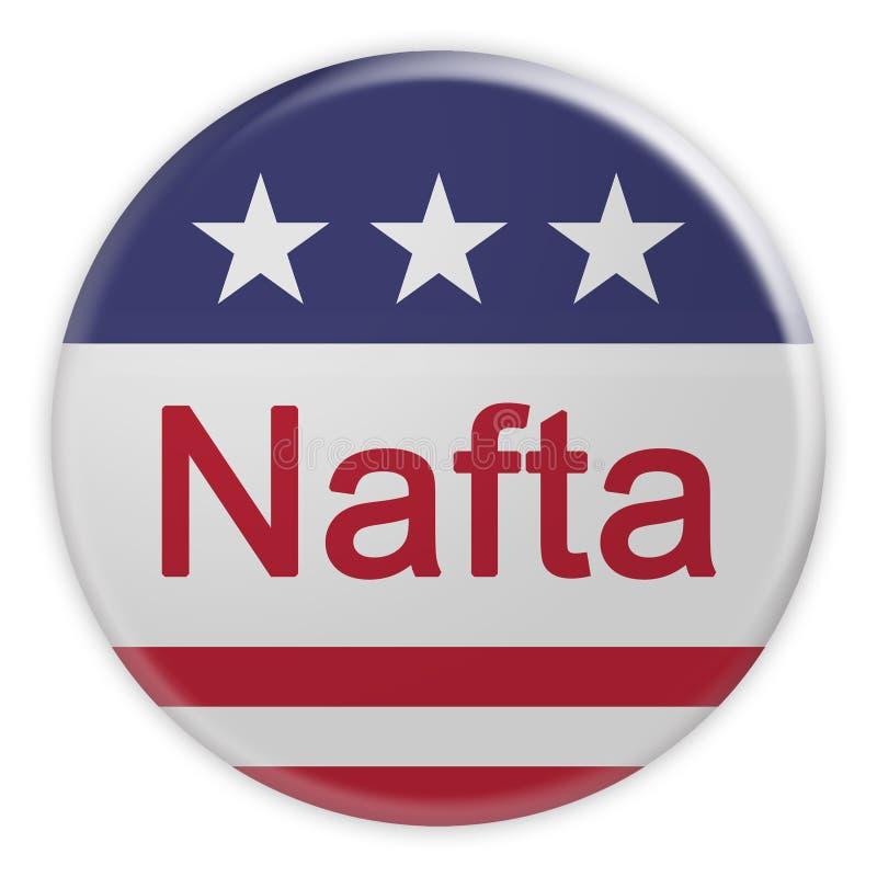 Nafta-knapp med USA-flaggan, illustration 3d på vit bakgrund stock illustrationer