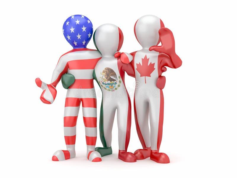 NAFTA. Les gens en couleurs d'indicateur national. illustration de vecteur