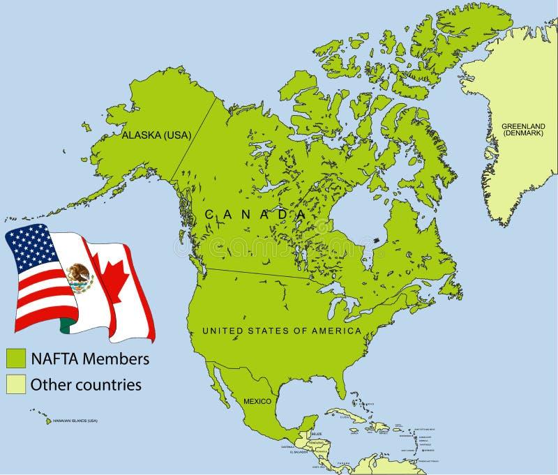 NAFTA mapa royalty ilustracja