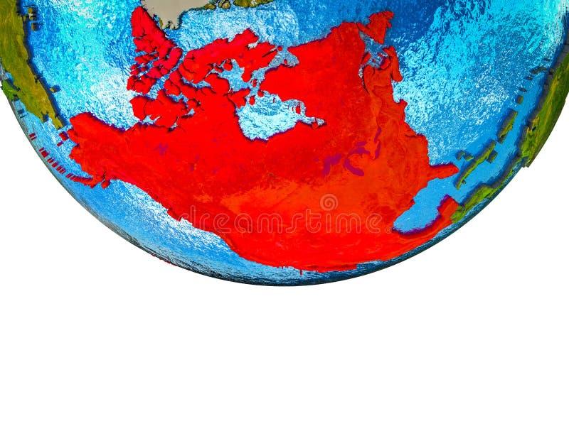 NAFTA memeber states on 3D Earth stock images