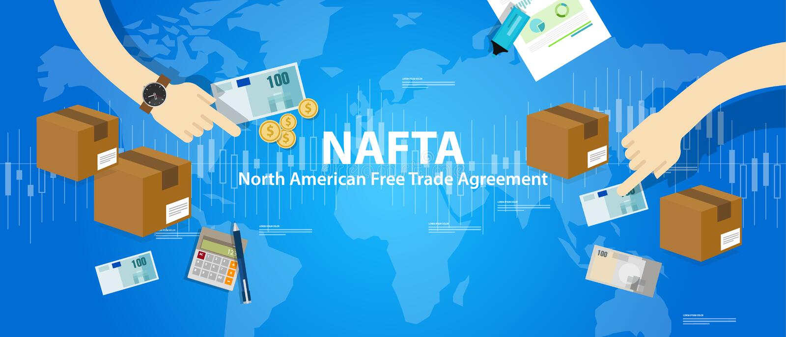 NAFTA North American Free Trade Agreement vector illustration