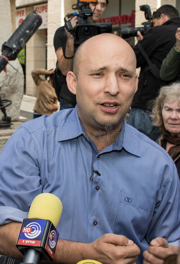 Naftali Bennett. Israel parliamentary elections took place on March 17, 2015. Naftali Bennett, the Economics Minister and head of the religious right-wing Jewish royalty free stock images