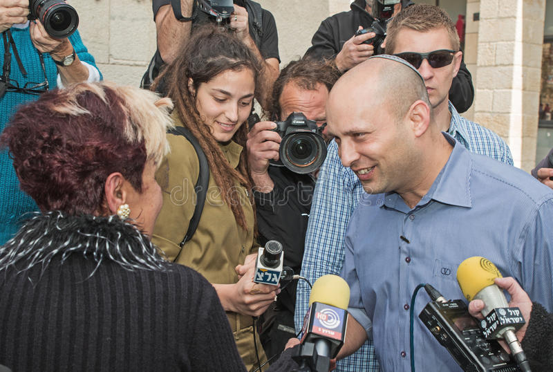 Naftali Bennett. Israel parliamentary elections took place on March 17, 2015. Naftali Bennett, the Economics Minister and head of the religious right-wing Jewish stock photo