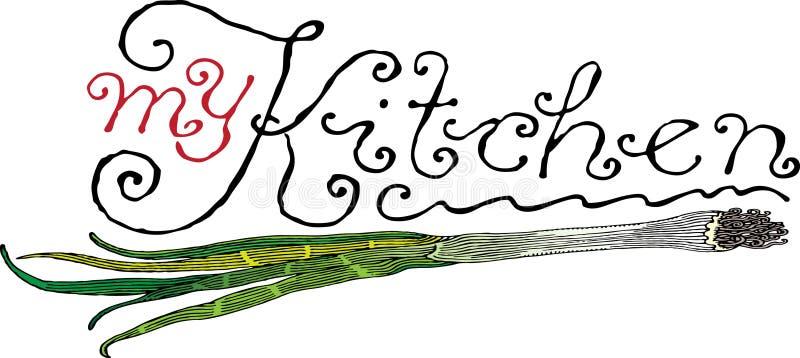 nagłówek kuchnia mój cebula royalty ilustracja