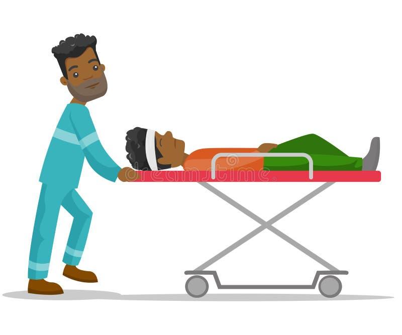 Nagłego wypadku odtransportowania doktorski mężczyzna na blejtramu ilustracji