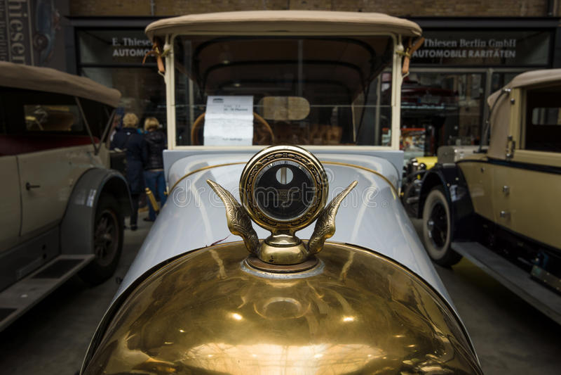 NAG C4 10/30 Phaeton. BERLIN - MAY 10, 2015: Hood ornament of vintage car of the German manufacturer NAG C4 10/30 Phaeton. 28th Berlin-Brandenburg Oldtimer Day royalty free stock image