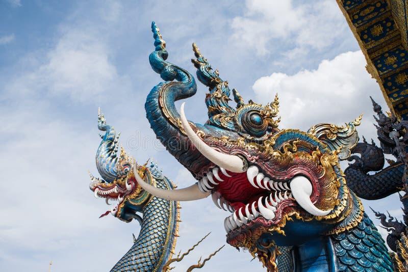 Naga на виске Wat Rong Suea 10 стоковое фото