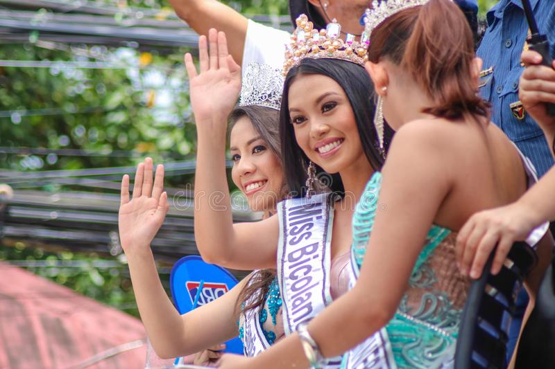 Philippine Beauty Queens of Miss Bicolandia Pageant stock images