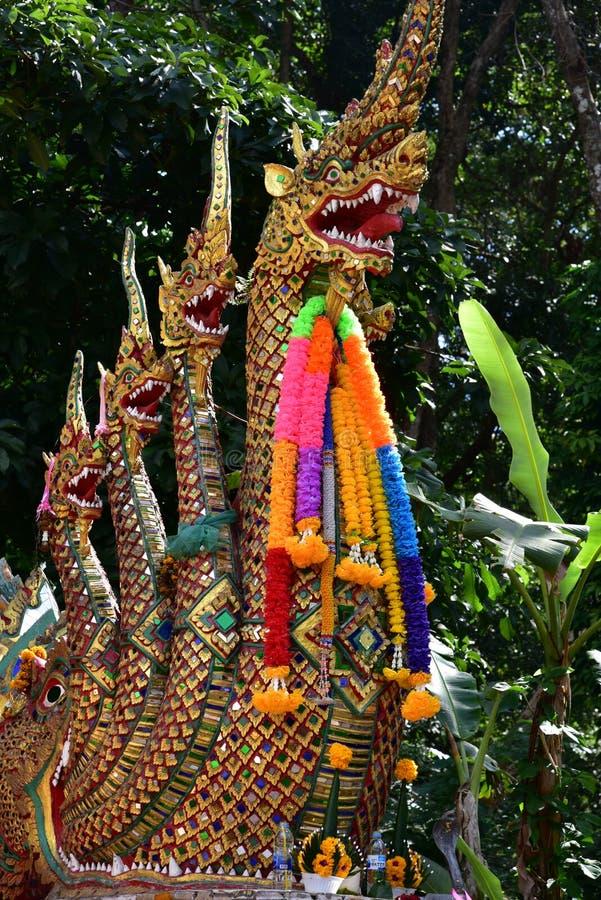 Naga on gates of the temple of Wat Phra That Doi Suthep royalty free stock photo
