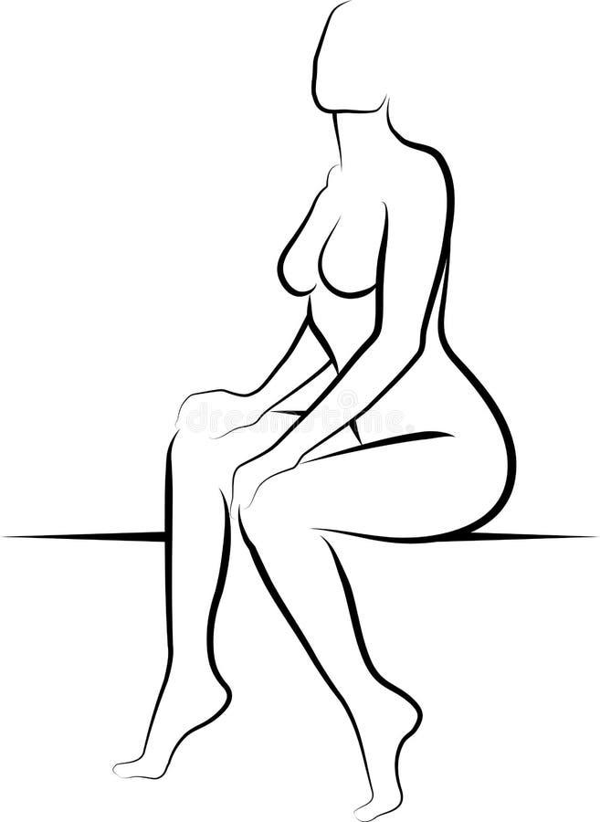 Download Naga kobieta ilustracja wektor. Obraz złożonej z sylwetka - 28693563