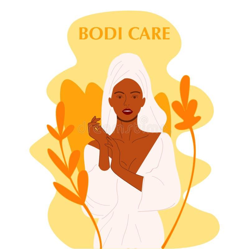 Naga piękna młoda kobieta w dużych liściach z ciemną skórą Amerykanin Afrykańskiego Pochodzenia dziewczyny utrzymania organicznie royalty ilustracja