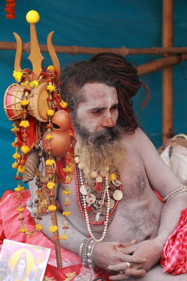 NAGA SADHU, HEILIGE MENSEN VAN INDIA stock afbeelding