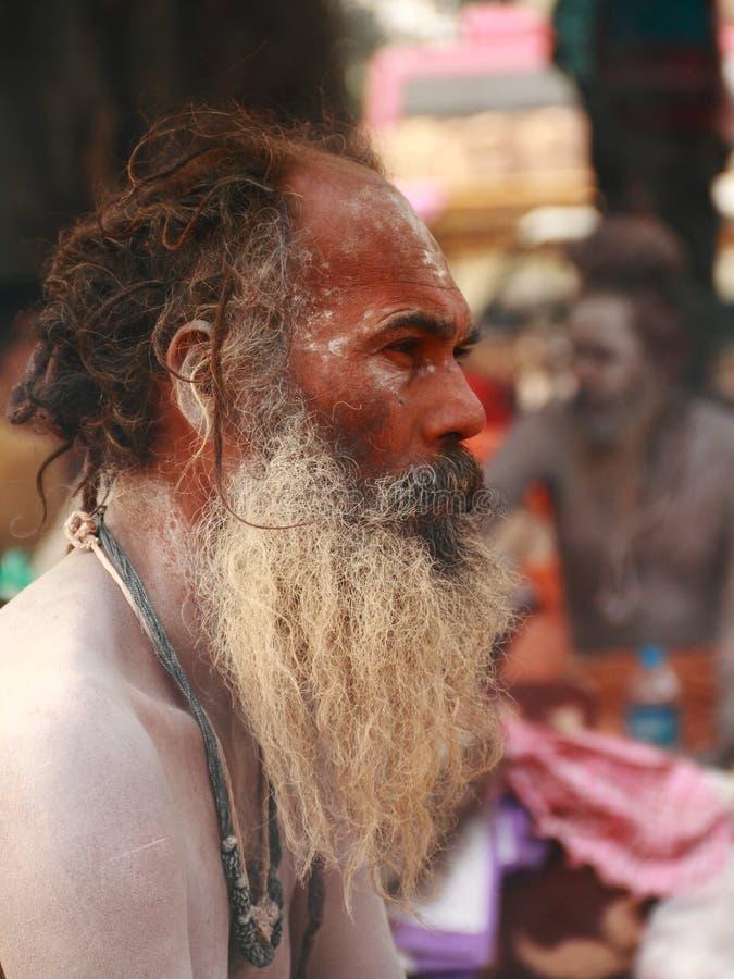 NAGA SADHU, HEILIGE MENSEN VAN INDIA royalty-vrije stock afbeelding